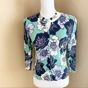 NWOT Ann Taylor cardigan sweater XS green floral